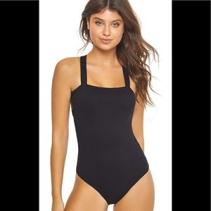 PilyQ - Midnight Ribbed Cage One-Piece Swimsuit